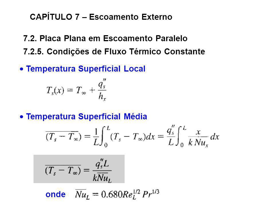 7.2. Placa Plana em Escoamento Paralelo CAPÍTULO 7 – Escoamento Externo 7.2.5. Condições de Fluxo Térmico Constante Temperatura Superficial Local onde