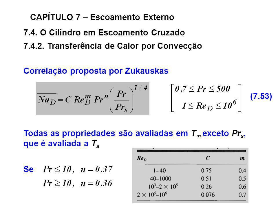 7.4. O Cilindro em Escoamento Cruzado CAPÍTULO 7 – Escoamento Externo 7.4.2. Transferência de Calor por Convecção Correlação proposta por Zukauskas To