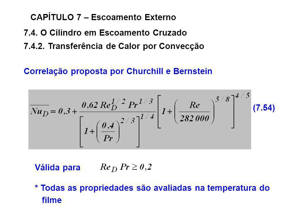 7.4. O Cilindro em Escoamento Cruzado CAPÍTULO 7 – Escoamento Externo 7.4.2. Transferência de Calor por Convecção Correlação proposta por Churchill e