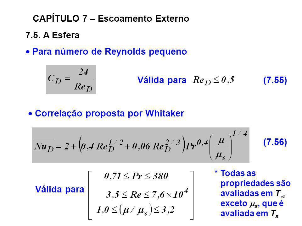 7.5. A Esfera CAPÍTULO 7 – Escoamento Externo Para número de Reynolds pequeno Válida para(7.55) Correlação proposta por Whitaker Válida para (7.56) *