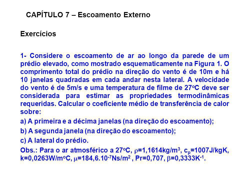 Exercícios CAPÍTULO 7 – Escoamento Externo 1- Considere o escoamento de ar ao longo da parede de um prédio elevado, como mostrado esquematicamente na