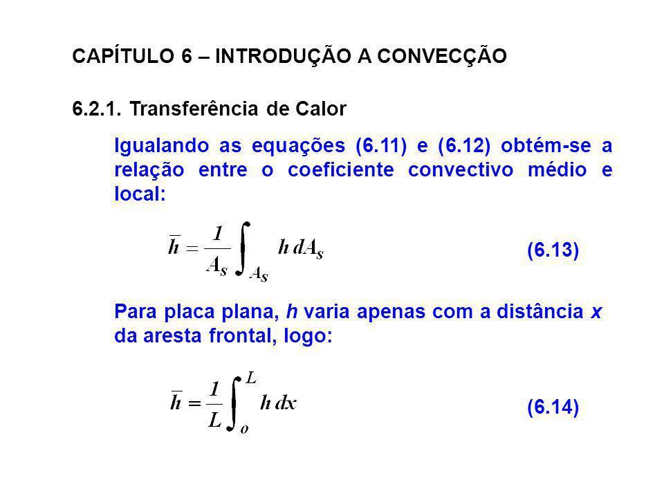CAPÍTULO 6 – INTRODUÇÃO A CONVECÇÃO 6.2.1. Transferência de Calor Igualando as equações (6.11) e (6.12) obtém-se a relação entre o coeficiente convect