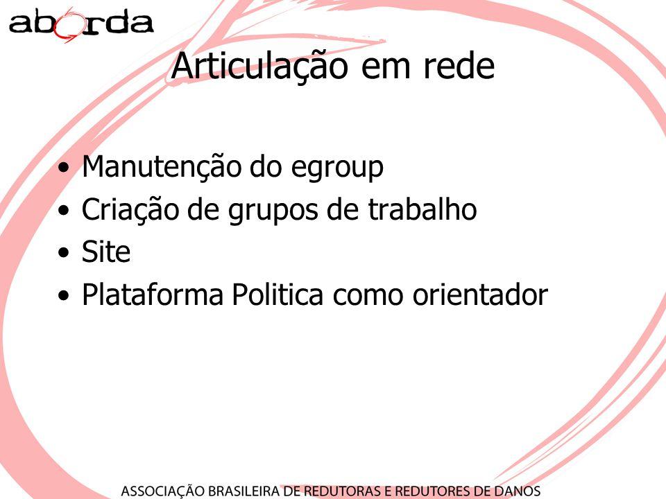 Articulação em rede Manutenção do egroup Criação de grupos de trabalho Site Plataforma Politica como orientador