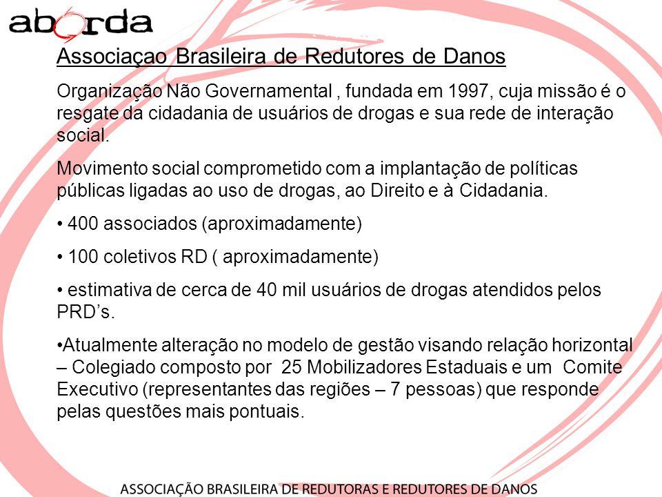 Roda Brasil -Apresentação Ao longo de todo o ano de 2007, a Associação Brasileira de Redutoras e Redutores de Danos (ABORDA), com apoio do Programa Nacional de DST e Aids (PN Aids) e do Escritório das Nações Unidas Contra Drogas e Crime (UNODC), desenvolveu a RoDa Brasil, um amplo projeto de articulação política do campo da Redução de Danos em todo o país.