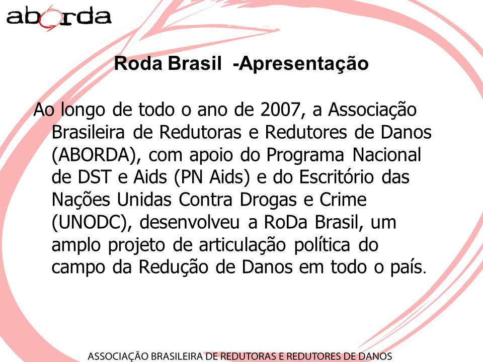 Roda Brasil -Apresentação Ao longo de todo o ano de 2007, a Associação Brasileira de Redutoras e Redutores de Danos (ABORDA), com apoio do Programa Na