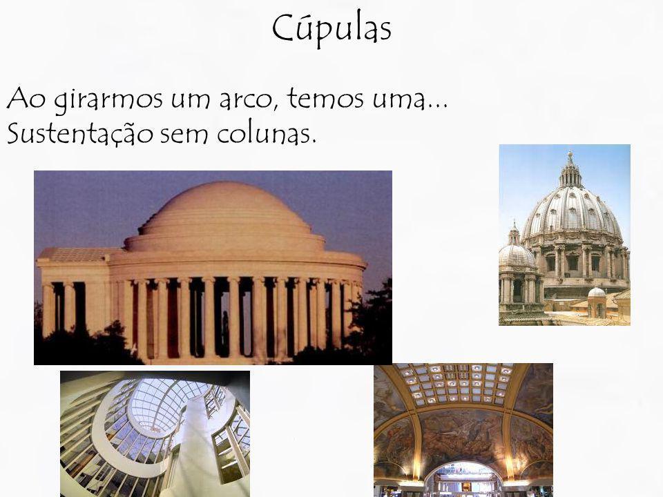Ao girarmos um arco, temos uma... Sustentação sem colunas. Cúpulas