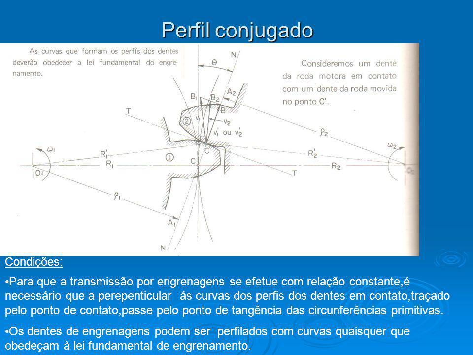 Perfil conjugado Para que a transmissão por engrenagens se efetue com relação constante,é necessário que a perepenticular ás curvas dos perfis dos dentes em contato,traçado pelo ponto de contato,passe pelo ponto de tangência das circunferências primitivas.