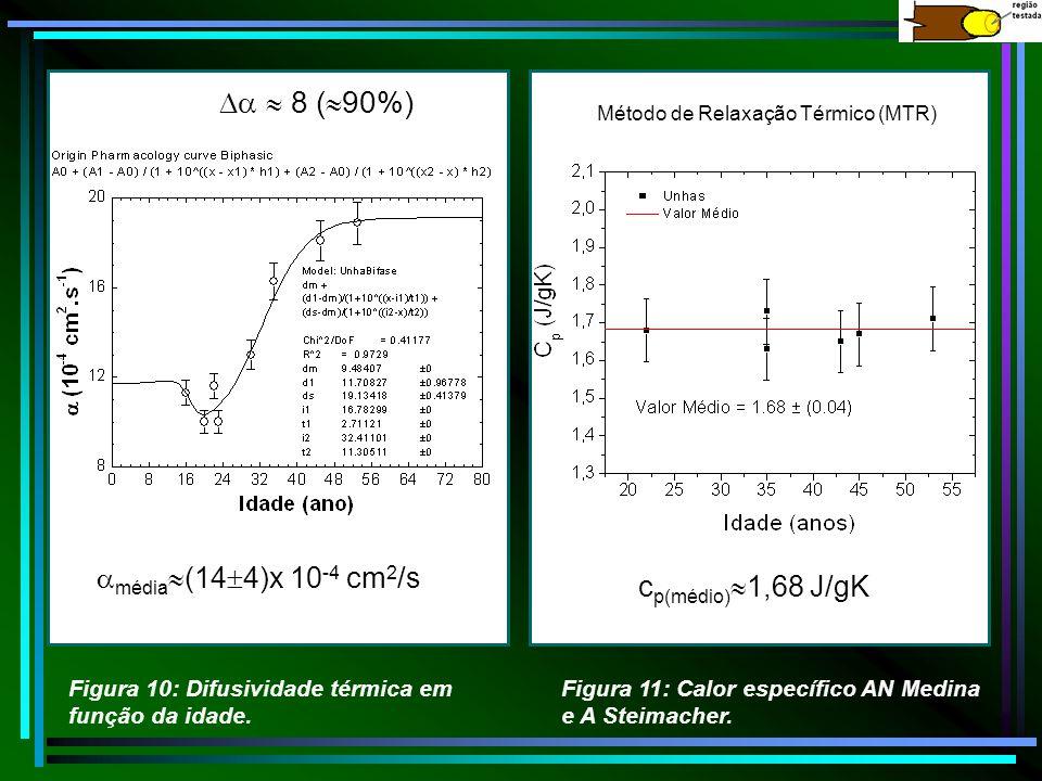 média (14 4)x 10 -4 cm 2 /s 8 ( 90%) Figura 10: Difusividade térmica em função da idade. c p(médio) 1,68 J/gK Método de Relaxação Térmico (MTR) Figura
