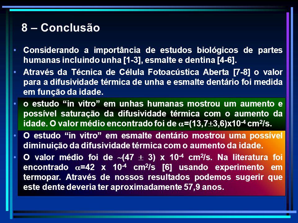 8 – Conclusão Considerando a importância de estudos biológicos de partes humanas incluindo unha [1-3], esmalte e dentina [4-6]. Através da Técnica de