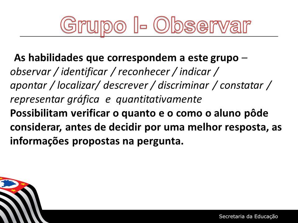 As habilidades que correspondem a este grupo – observar / identificar / reconhecer / indicar / apontar / localizar/ descrever / discriminar / constata