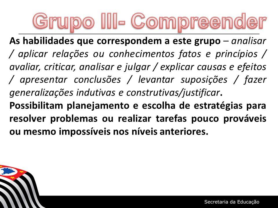 As habilidades que correspondem a este grupo – analisar / aplicar relações ou conhecimentos fatos e princípios / avaliar, criticar, analisar e julgar