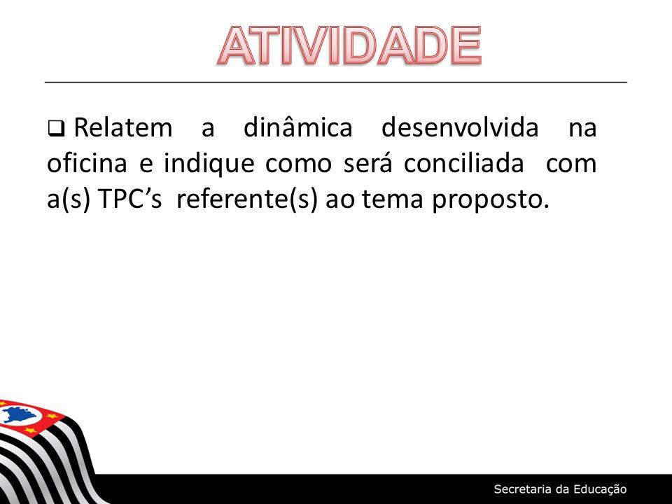 Relatem a dinâmica desenvolvida na oficina e indique como será conciliada com a(s) TPCs referente(s) ao tema proposto.