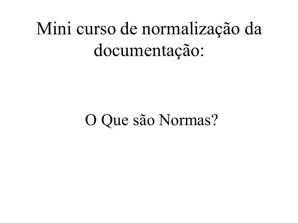 Mini curso de normalização da documentação: O Que são Normas?