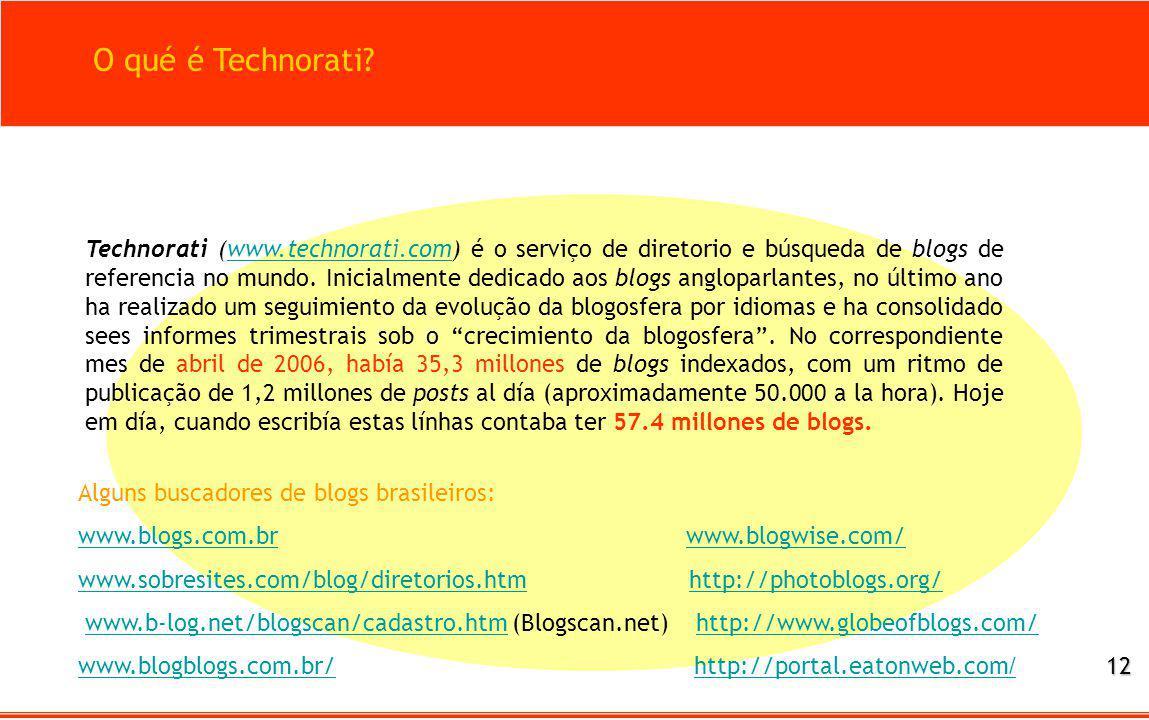 O qué é Technorati? Technorati (www.technorati.com) é o serviço de diretorio e búsqueda de blogs de referencia no mundo. Inicialmente dedicado aos blo