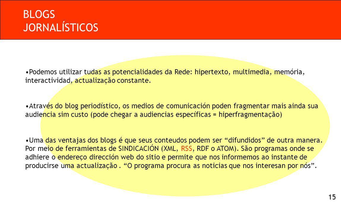 Podemos utilizar tudas as potencialidades da Rede: hipertexto, multimedia, memória, interactividad, actualização constante.