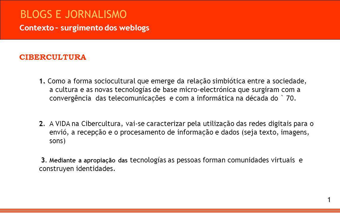 CIBERCULTURA Contexto – surgimento dos weblogs 1. 1.