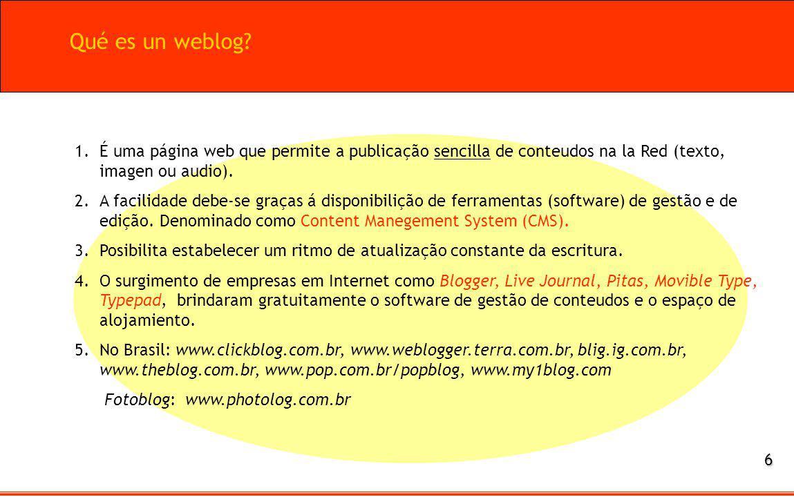 1.É uma página web que permite a publicação sencilla de conteudos na la Red (texto, imagen ou audio). 2.A facilidade debe-se graças á disponibilição d