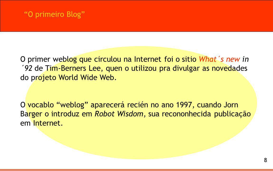 O primer weblog que circulou na Internet foi o sitio What´s new in ´92 de Tim-Berners Lee, quen o utilizou pra divulgar as novedades do projeto World