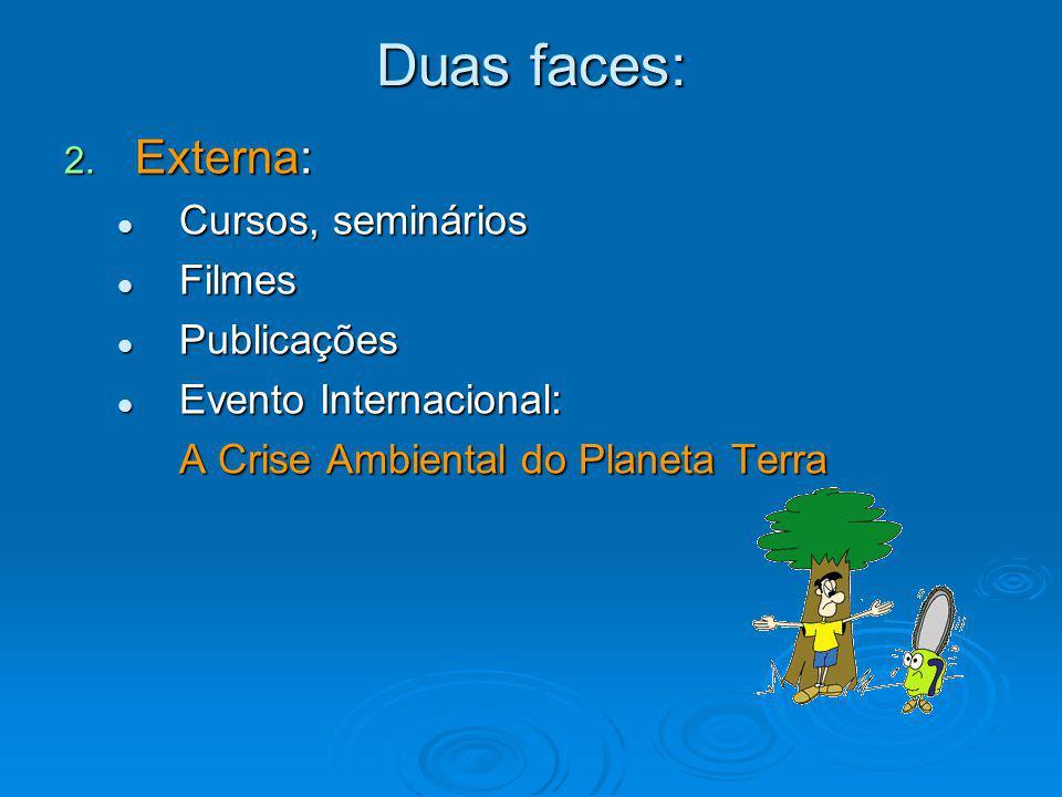 Duas faces: 2. Externa: Cursos, seminários Cursos, seminários Filmes Filmes Publicações Publicações Evento Internacional: Evento Internacional: A Cris