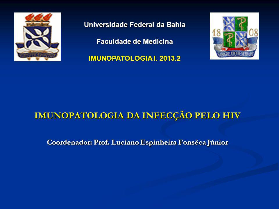 IMUNOPATOLOGIA DA INFECÇÃO PELO HIV Coordenador: Prof. Luciano Espinheira Fonsêca Júnior Universidade Federal da Bahia Faculdade de Medicina IMUNOPATO
