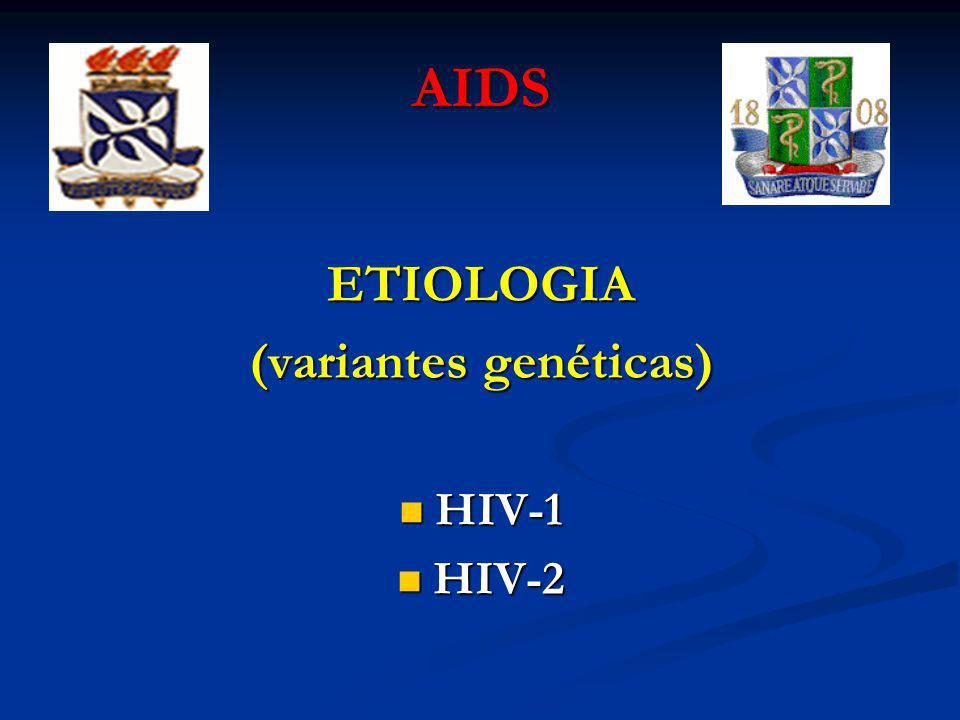 AIDS ETIOLOGIA (variantes genéticas) HIV-1 HIV-1 HIV-2 HIV-2
