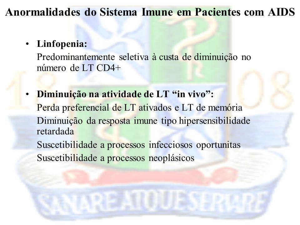 Linfopenia: Predominantemente seletiva à custa de diminuição no número de LT CD4+ Diminuição na atividade de LT in vivo: Perda preferencial de LT ativ