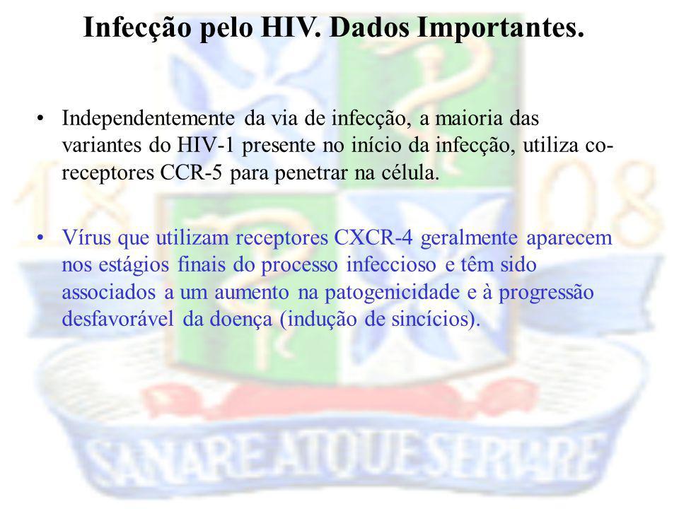 Independentemente da via de infecção, a maioria das variantes do HIV-1 presente no início da infecção, utiliza co- receptores CCR-5 para penetrar na c