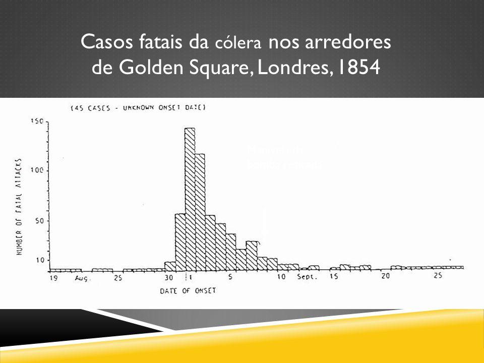 Manivela da bomba retirada Casos fatais da cólera nos arredores de Golden Square, Londres, 1854