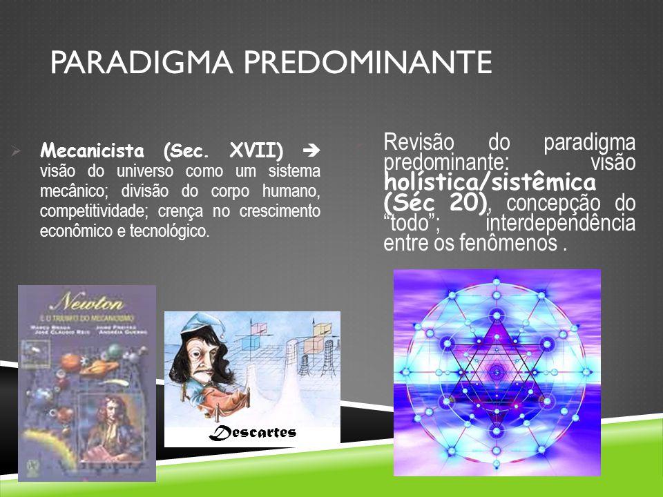 PARADIGMA PREDOMINANTE Mecanicista (Sec. XVII) visão do universo como um sistema mecânico; divisão do corpo humano, competitividade; crença no crescim