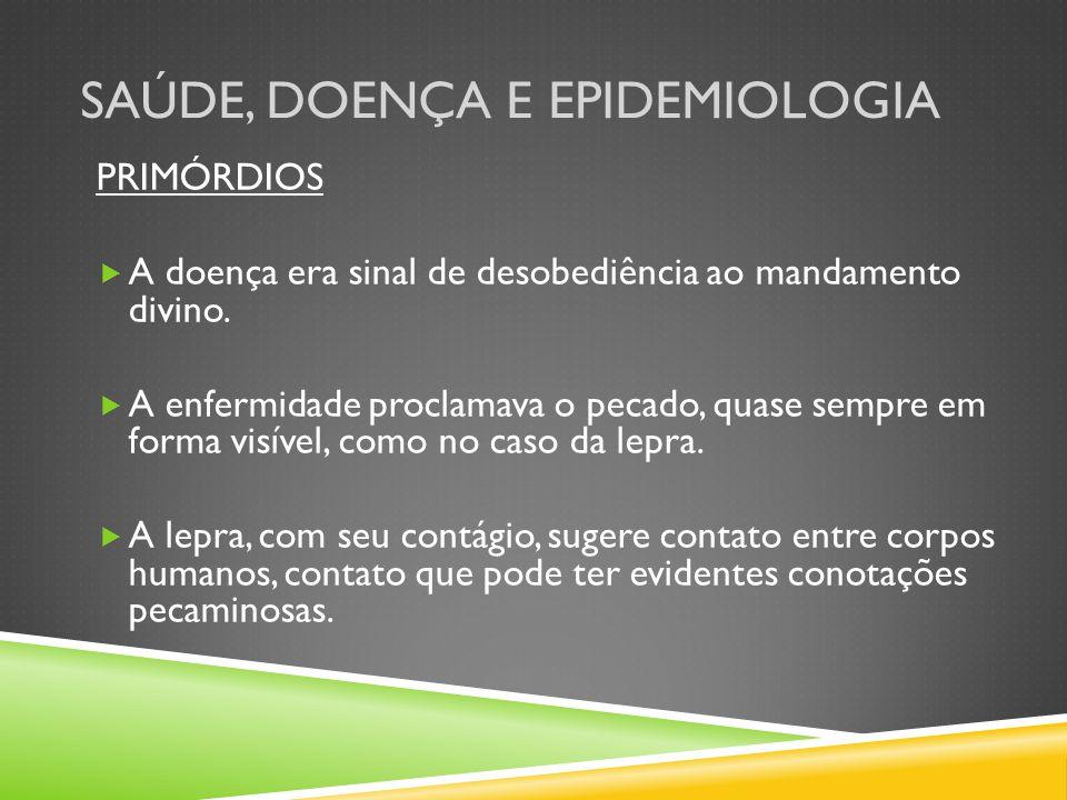 SAÚDE, DOENÇA E EPIDEMIOLOGIA PRIMÓRDIOS A doença era sinal de desobediência ao mandamento divino.