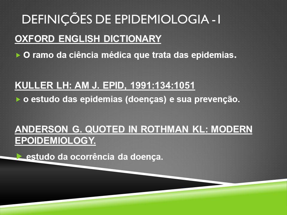 DEFINIÇÕES DE EPIDEMIOLOGIA -1 OXFORD ENGLISH DICTIONARY O ramo da ciência médica que trata das epidemias. KULLER LH: AM J. EPID, 1991:134:1051 o estu