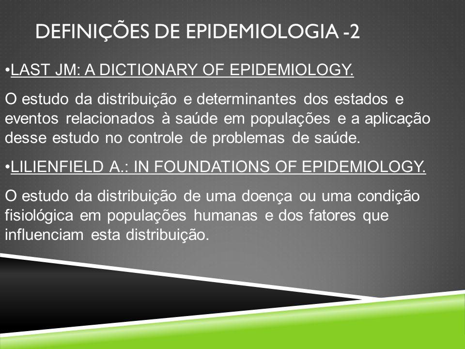LAST JM: A DICTIONARY OF EPIDEMIOLOGY. O estudo da distribuição e determinantes dos estados e eventos relacionados à saúde em populações e a aplicação