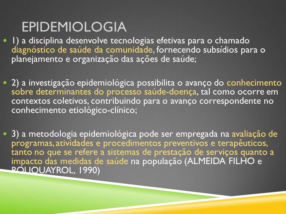 EPIDEMIOLOGIA 1) a disciplina desenvolve tecnologias efetivas para o chamado diagnóstico de saúde da comunidade, fornecendo subsídios para o planejame