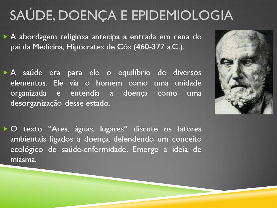 SAÚDE, DOENÇA E EPIDEMIOLOGIA A abordagem religiosa antecipa a entrada em cena do pai da Medicina, Hipócrates de Cós (460-377 a.C.). A saúde era para