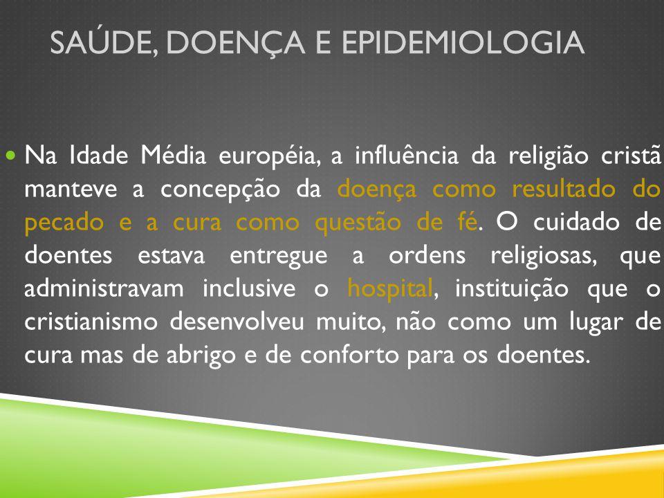 SAÚDE, DOENÇA E EPIDEMIOLOGIA Na Idade Média européia, a influência da religião cristã manteve a concepção da doença como resultado do pecado e a cura como questão de fé.