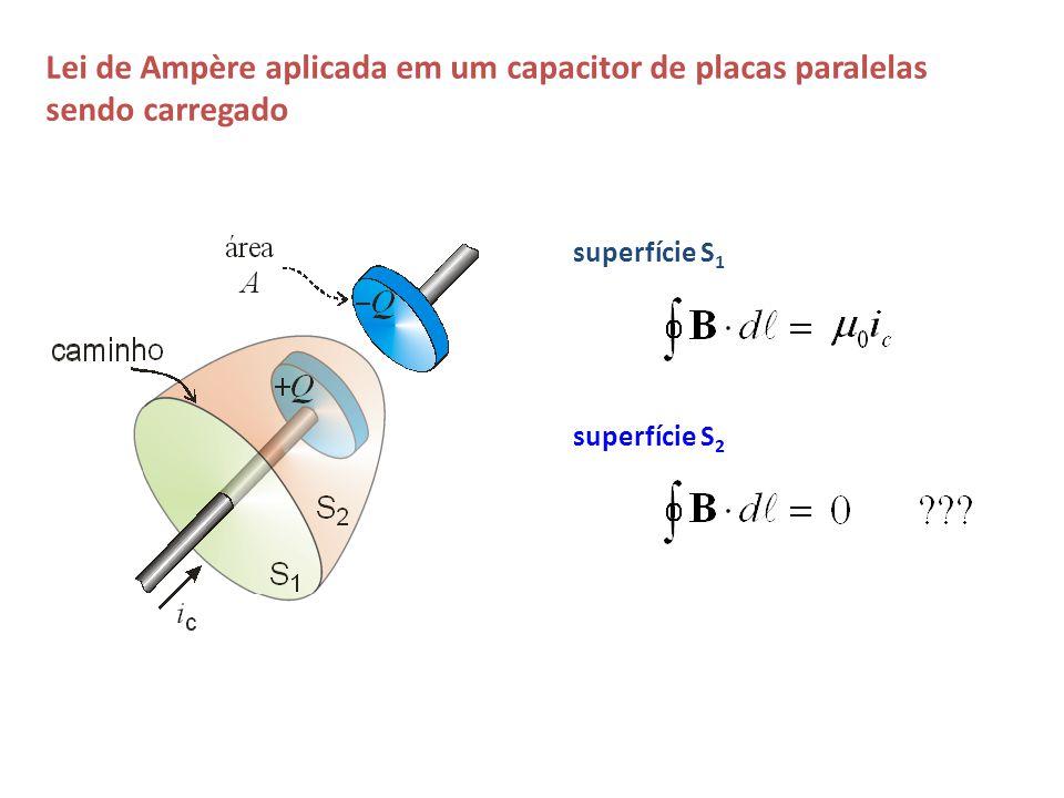 superfície S 1 superfície S 2 Lei de Ampère aplicada em um capacitor de placas paralelas sendo carregado