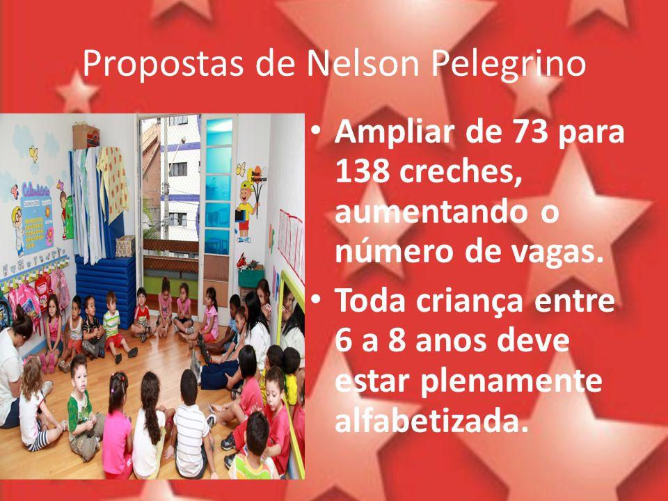 Propostas de Nelson Pelegrino Ampliar de 73 para 138 creches, aumentando o número de vagas. Toda criança entre 6 a 8 anos deve estar plenamente alfabe