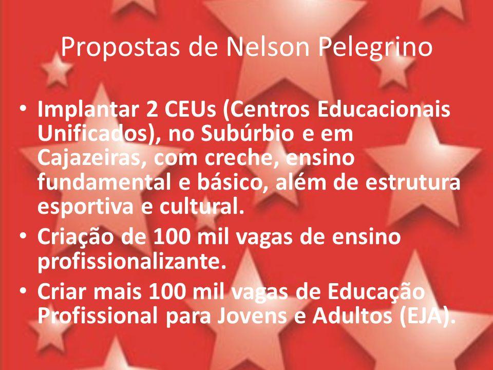 Propostas de Nelson Pelegrino Implantar 2 CEUs (Centros Educacionais Unificados), no Subúrbio e em Cajazeiras, com creche, ensino fundamental e básico