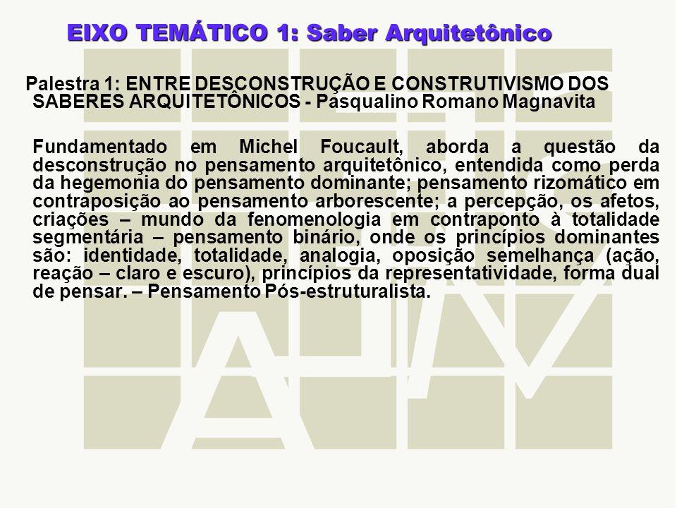 EIXO TEMÁTICO 1: Saber Arquitetônico Palestra 1: ENTRE DESCONSTRUÇÃO E CONSTRUTIVISMO DOS SABERES ARQUITETÔNICOS - Pasqualino Romano Magnavita Fundame