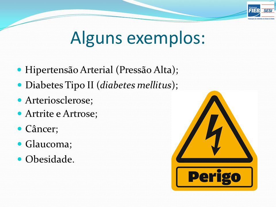 Alguns exemplos: Hipertensão Arterial (Pressão Alta); Diabetes Tipo II (diabetes mellitus); Arteriosclerose; Artrite e Artrose; Câncer; Glaucoma; Obes