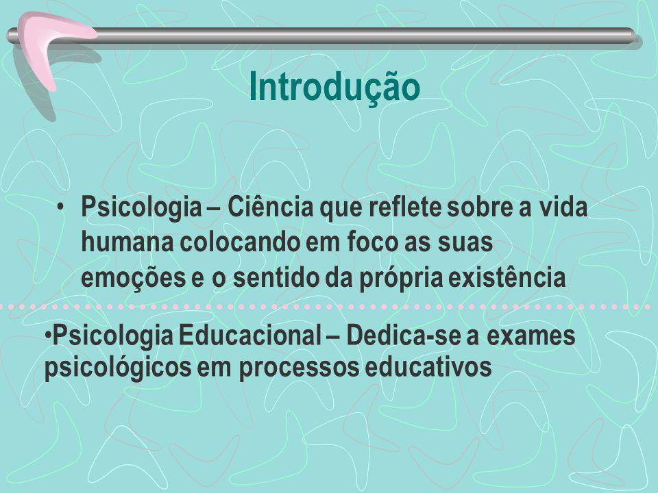 Introdução Psicologia – Ciência que reflete sobre a vida humana colocando em foco as suas emoções e o sentido da própria existência Psicologia Educacional – Dedica-se a exames psicológicos em processos educativos