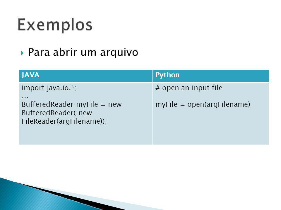 Para abrir um arquivo JAVAPython import java.io.*;...