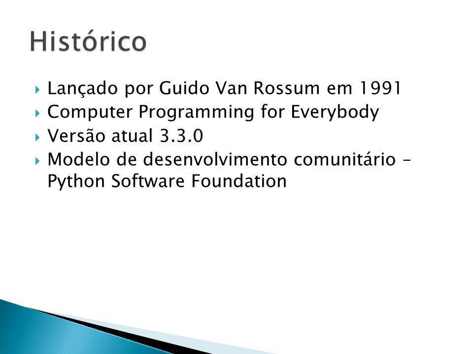 Lançado por Guido Van Rossum em 1991 Computer Programming for Everybody Versão atual 3.3.0 Modelo de desenvolvimento comunitário – Python Software Foundation