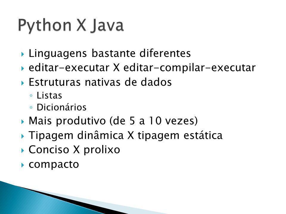 Linguagens bastante diferentes editar-executar X editar-compilar-executar Estruturas nativas de dados Listas Dicionários Mais produtivo (de 5 a 10 vezes) Tipagem dinâmica X tipagem estática Conciso X prolixo compacto
