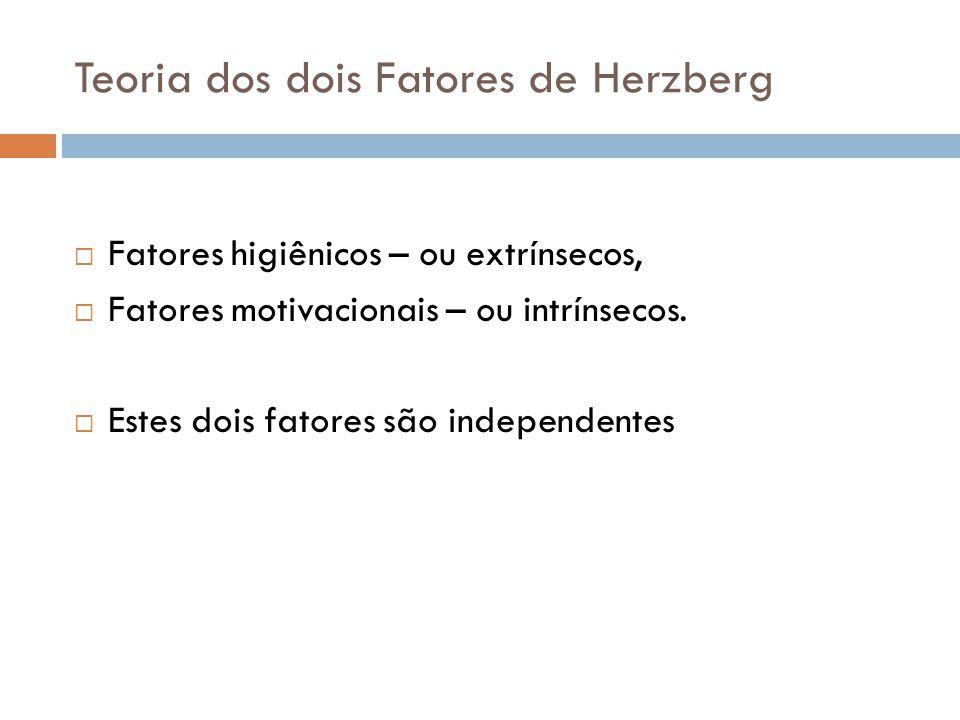 Teoria dos dois Fatores de Herzberg Fatores higiênicos – ou extrínsecos, Fatores motivacionais – ou intrínsecos. Estes dois fatores são independentes