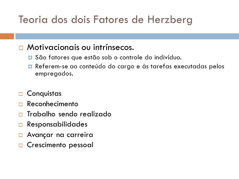 Motivacionais ou intrínsecos. São fatores que estão sob o controle do indivíduo. Referem-se ao conteúdo do cargo e às tarefas executadas pelos emprega