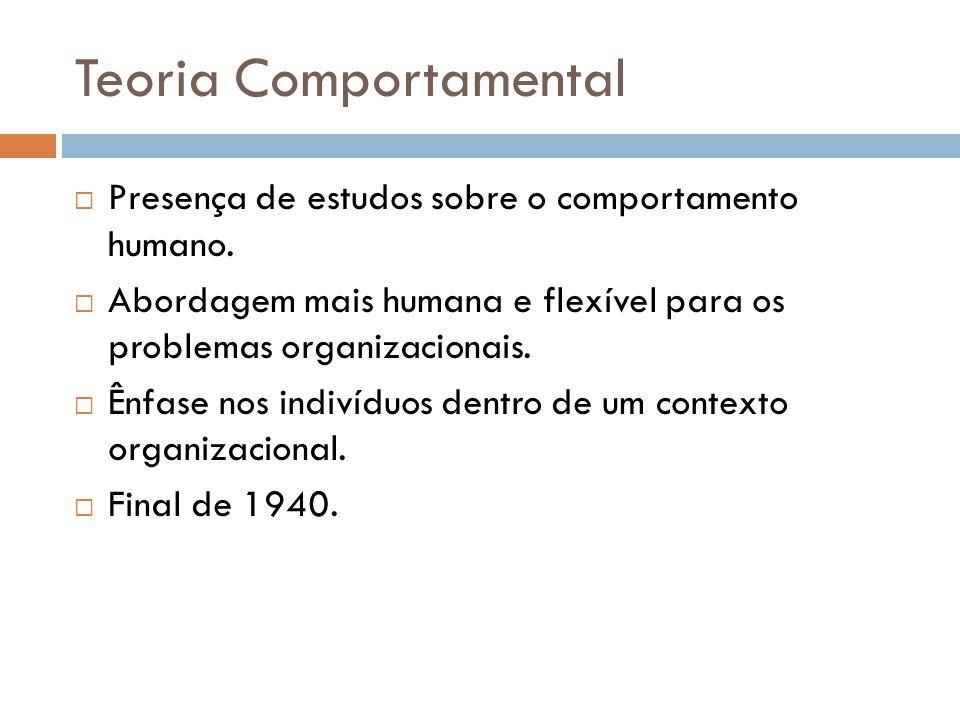 Teoria Comportamental Presença de estudos sobre o comportamento humano. Abordagem mais humana e flexível para os problemas organizacionais. Ênfase nos