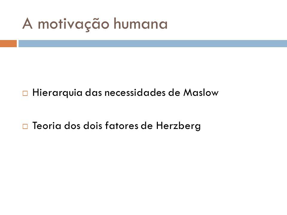 A motivação humana Hierarquia das necessidades de Maslow Teoria dos dois fatores de Herzberg
