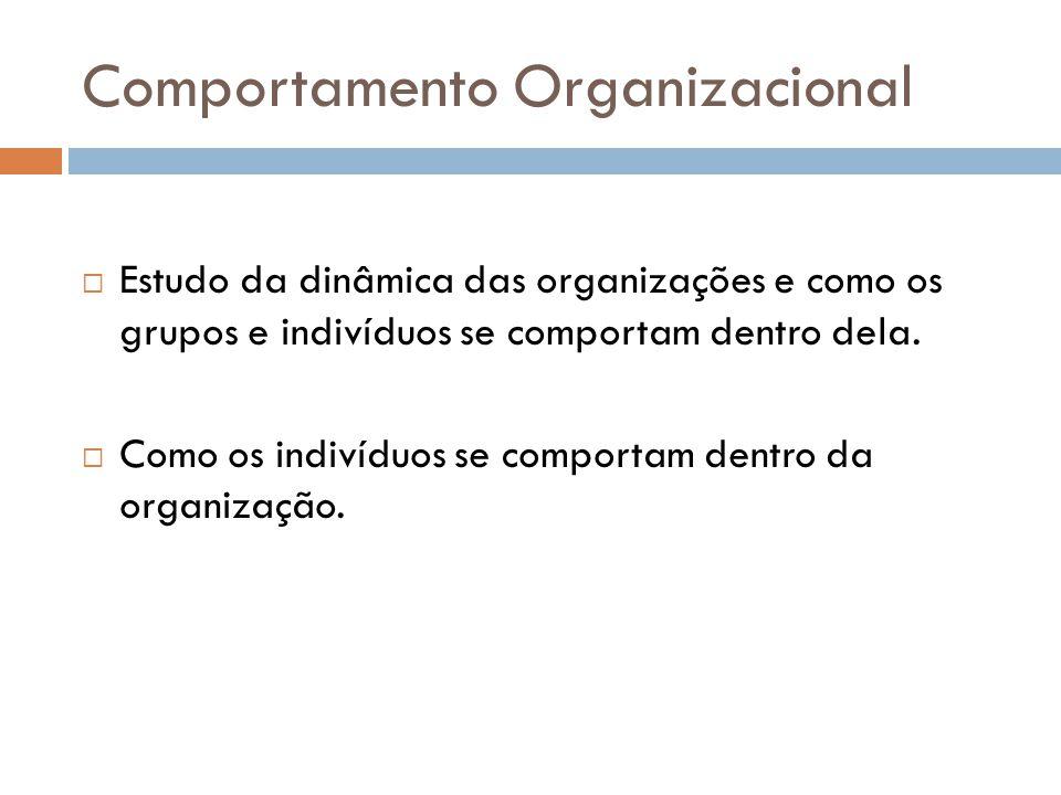 Comportamento Organizacional Estudo da dinâmica das organizações e como os grupos e indivíduos se comportam dentro dela. Como os indivíduos se comport