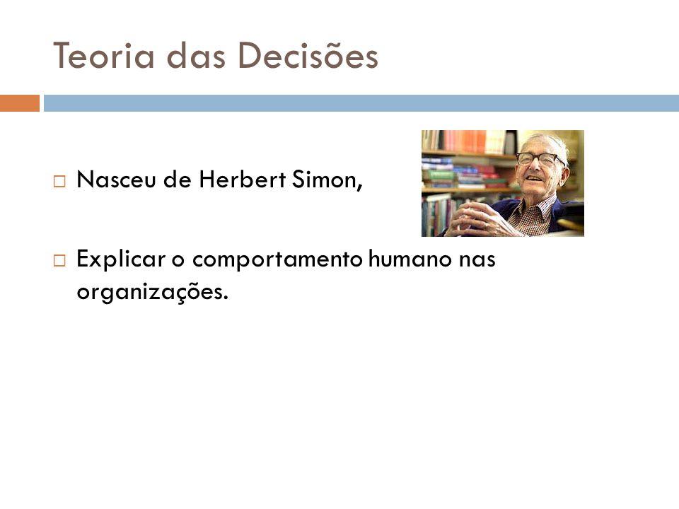 Teoria das Decisões Nasceu de Herbert Simon, Explicar o comportamento humano nas organizações.